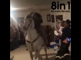 Мужик внутри дома сидит верхом на лошади, которая танцует, Мексика  / Dancing Mexican horse at home